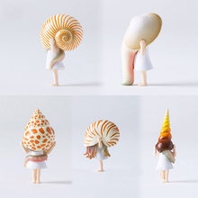 Japanese Original capsule toys cute kawaii cartoon overestimate conch sea snail shell girl figures collectible desk model(China)