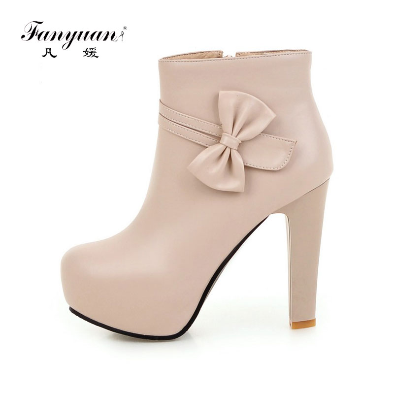 Fanyuan Women Side Zipper Comfortable Square Heel Ankle Boots Fashion Square Toe Keep Warm Winter Shoes Black pink White winter warm square high heel side zipper knee high boots fashion round toe shoes woman brown white black