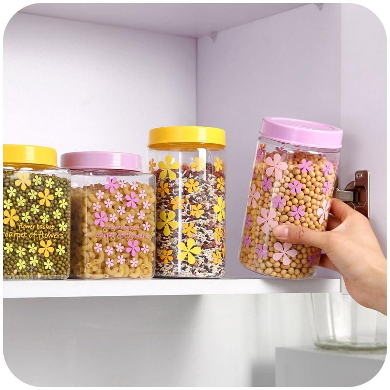 Cute Plastic Kitchen Mason Jar Lids Candy Color Print Tea Coffee Sugar Storage Jars Bottle Es Box Round Square In Bottles