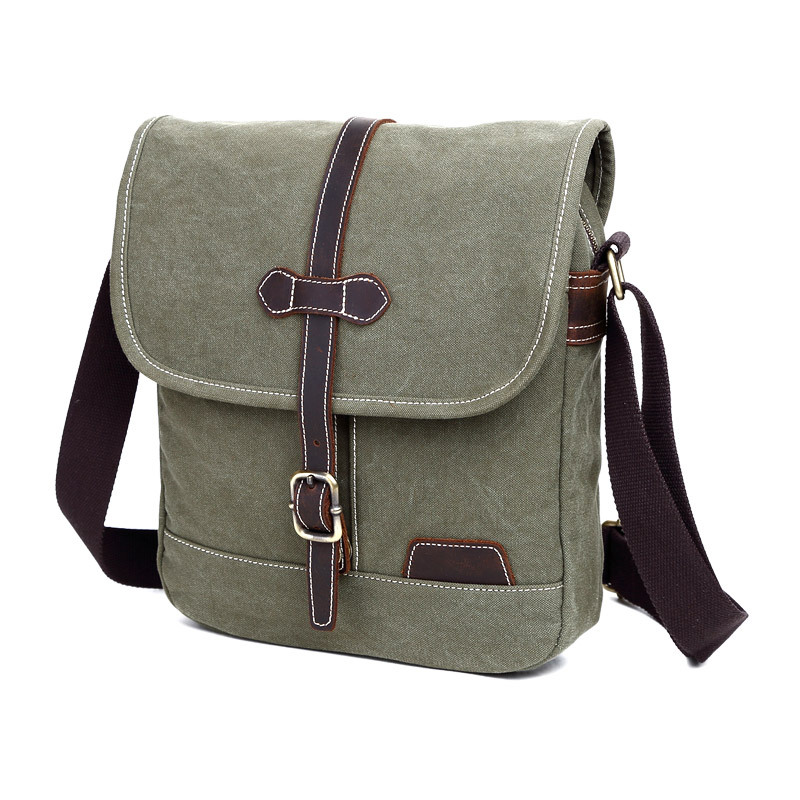 Men's Canvas Shoulder Bag New Korean Casual Shoulder Messenger Bag Army Green Retro Small Crossbody Bags For Men High Quality new winter casual big bag korean version of the retro simple small bag wild fashion messenger shoulder messenger bag tide