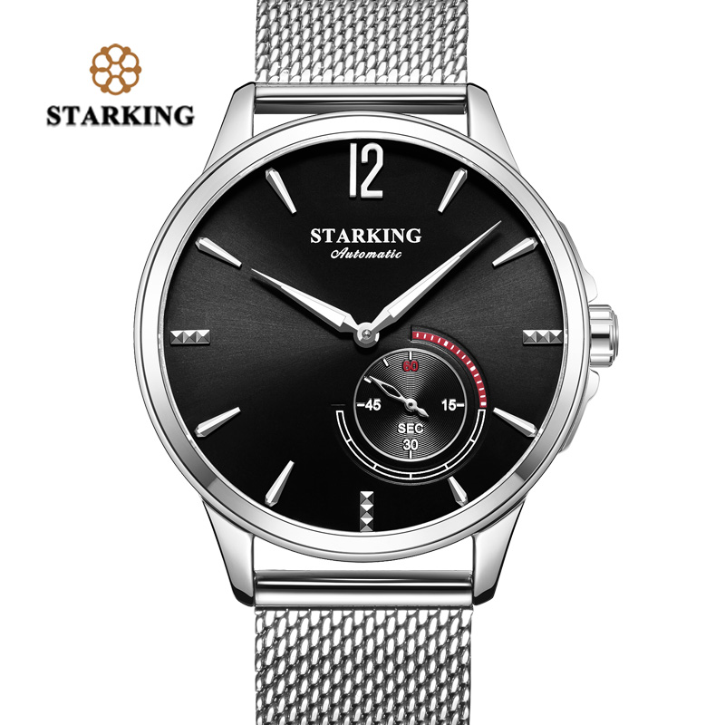STARKING Stainless Steel Mechanic Watch Men Automatic Classic Rose Gold Leather Mecanic Wrist Watch 5Bar Water Resistant AM273 fashionable water resistant glow in dark wrist watch black white 1 x lr626
