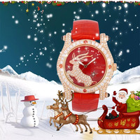Melissa Luxury Women Fashion Jewelry Watches Xmas Gift Watch 3D Christmas Deer Crystals Wrist watch Leather Quartz Montre Femme