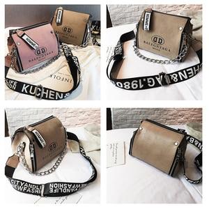 Image 2 - Scrub Leather Messenger Bag 2019 New Fashion Women Handbags Letter Wide Strap Chains Design Bucket Shoulder Bag Bolsa Feminina