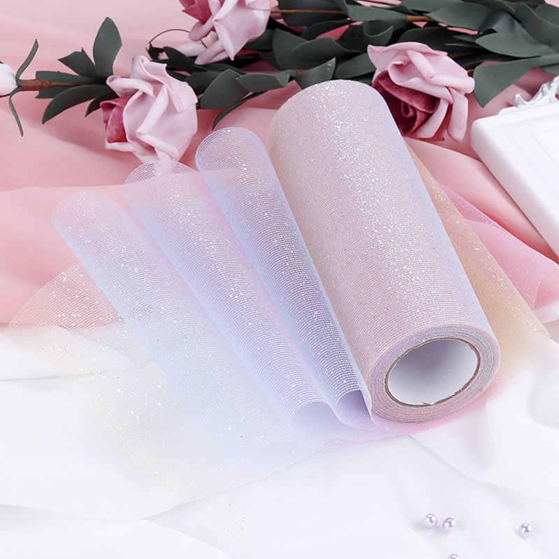 """10 yardas/rollo 6 """"15 cm Arco Iris brillo tul rollo lentejuelas cristal Organza pura tela DIY artesanía tutú falda hogar boda decoración"""
