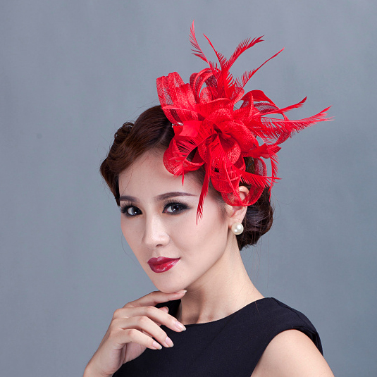 High Quality Mini Sinamay Flower Hair Clip Ladies Fancy Party Fascinator  Wedding Bridal Hairpin Headpiece Red Blue Green Beige 909278b6064
