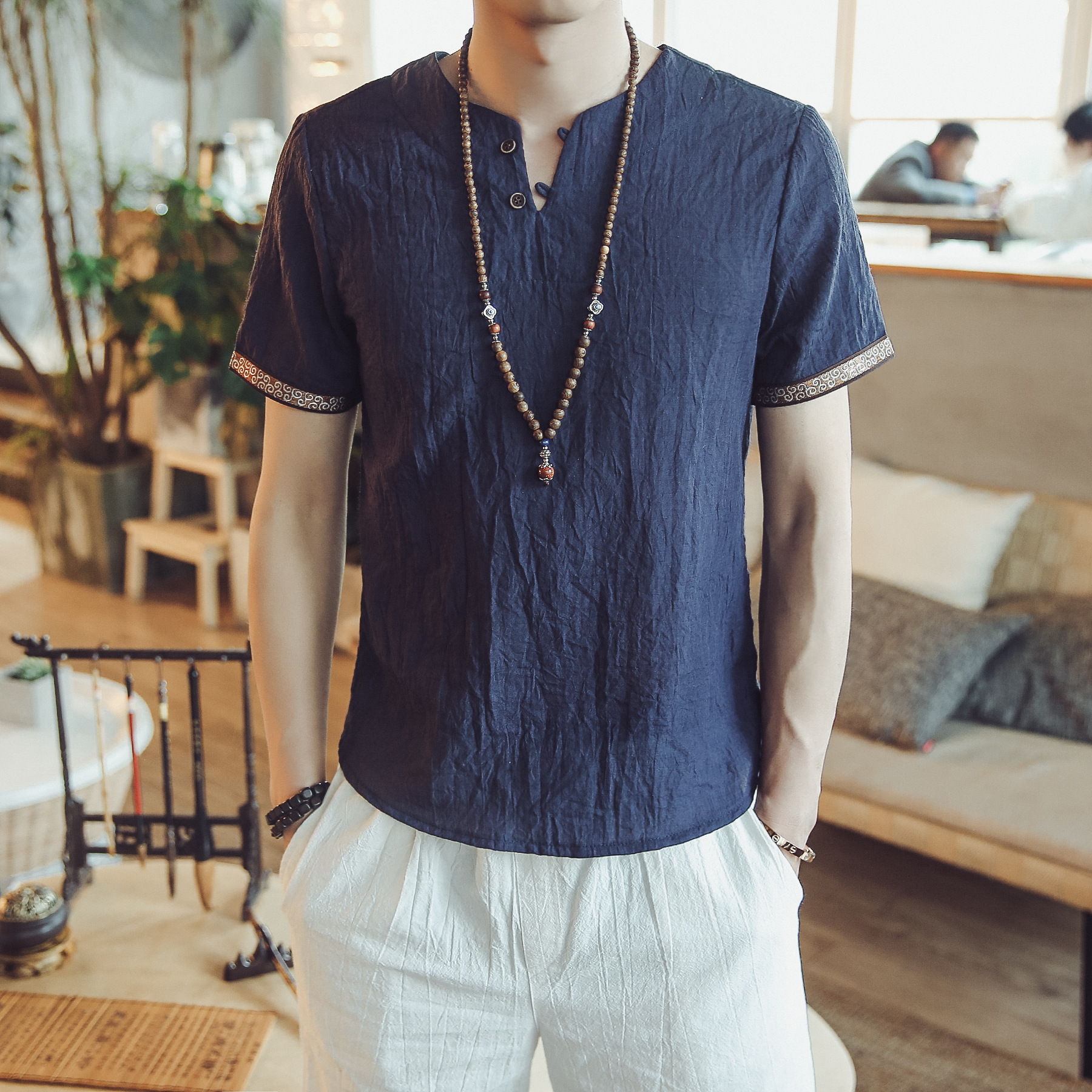 2019 New Cotton Linen Loose Brand Shirt Chinese Style Men's Summer Short-sleeved Thin China Dropshipping Hot Sale Top Clothes