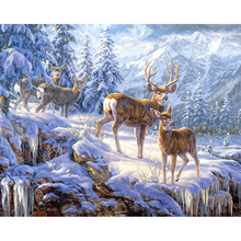 5D DIY Full square Diamond Painting Cross Stitch Snow deer Rhinestone  Embroidery Mosaic home decor gift