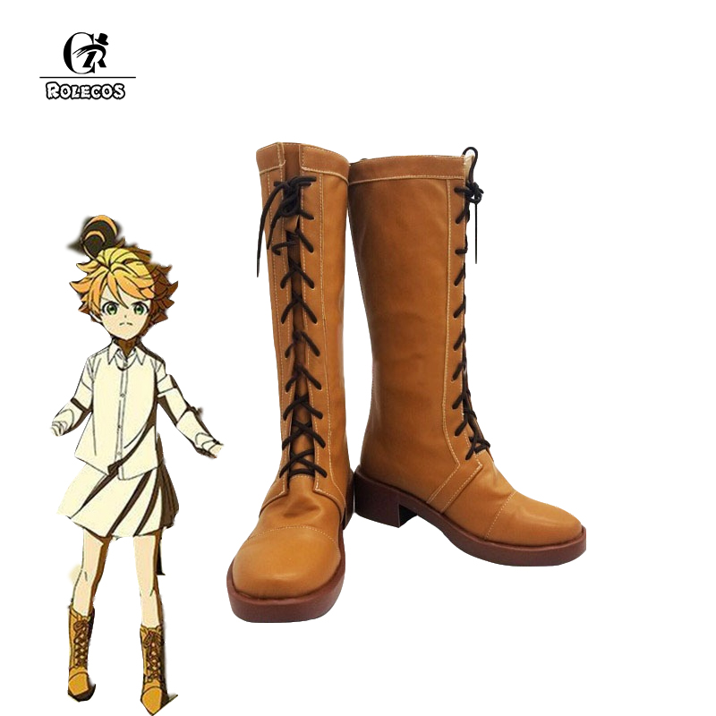 ROLECOS Anime The Promised Neverland Emma Cosplay Shoes Emma Brown Boots Yakusoku no Neverland Cosplay Shoes