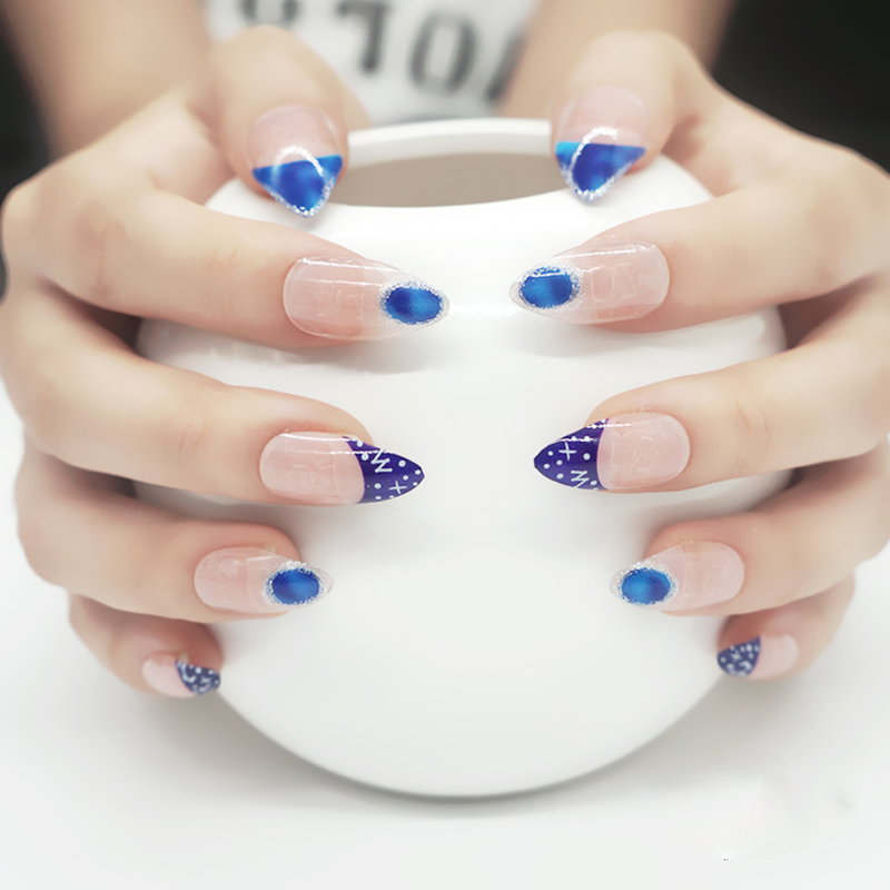 fashion blue stiletto nails uv gel fake nail art tips unha. Black Bedroom Furniture Sets. Home Design Ideas