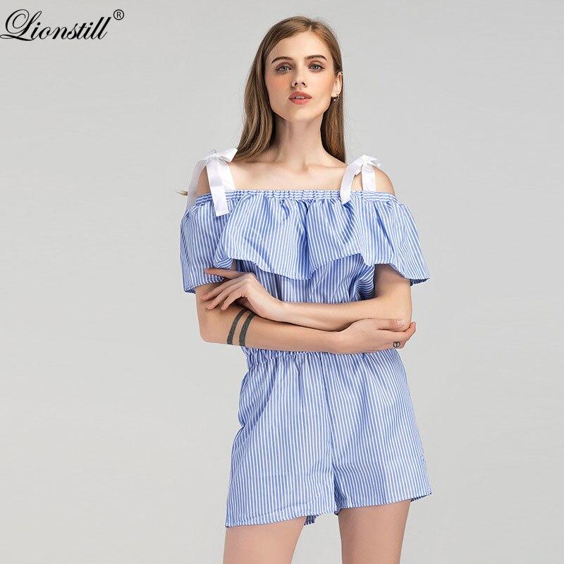 Lionstill Women Summer Romper Elegant Striped Off Shoulder Short Sleeve Ruffles Playsuit Casual Mini Jumpsuit