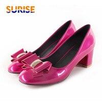 Big Size Arco Donne Pompe Tacco Basso Medio Blocco Quadrato Toe Patent Leather Dress Bowtie Strass Primavera Estate Pink Ladies scarpe
