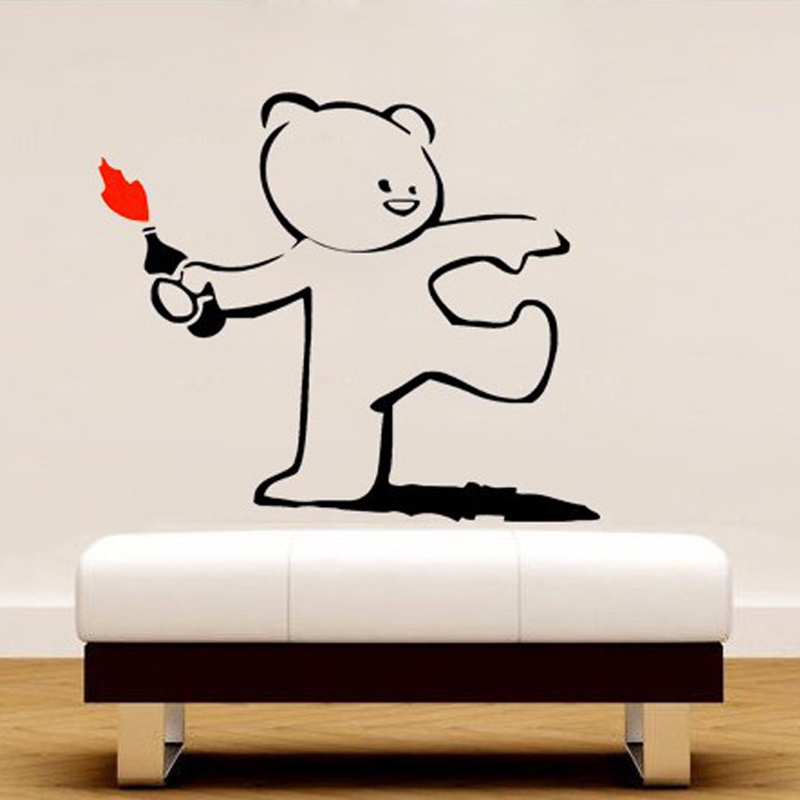 Banksy Wallpaper Lovely Cute Teddy Bear Throwing Fire Bottle Wall Sticker  Art Home Decor Decal Mural