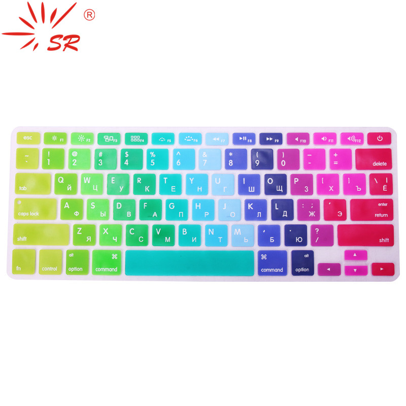 SR 2 Types US EU Russian Language Letter Silicone Keyboard Cover Sticker For Macbook Air 13 Pro 13.3 15.4 17 Retina Protector