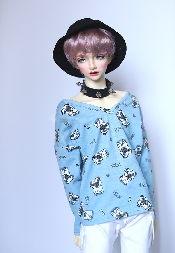 BJD doll shirt blue V-collar slippery shoulder bulldog printing T-shirt for 1/3 1/4 BJD SD DD MSD SD17 doll clothes accessories