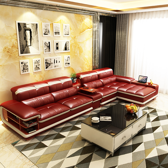 Living Room Sofa Storage Corner Real Genuine Leather Sofas Salon Couch Puff Asiento Muebles De Sala Canape L Shape Sofa Cama