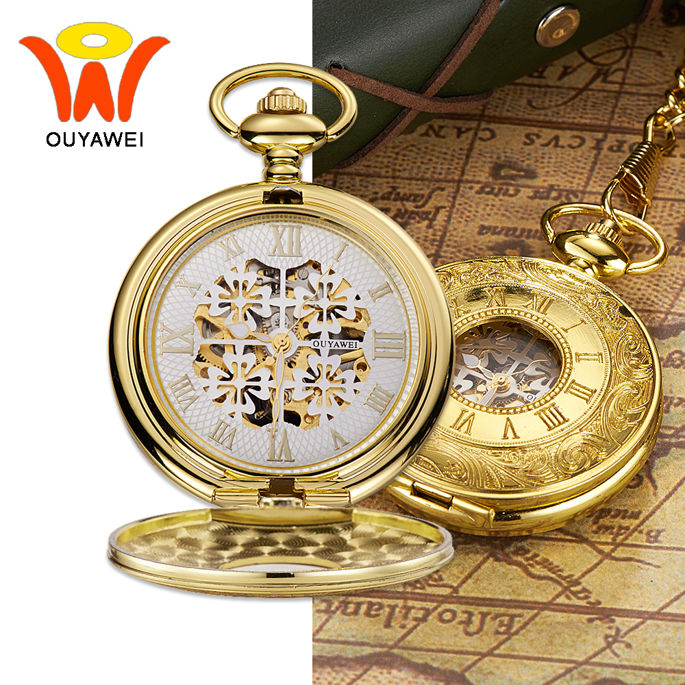 Mens pocket watches with chain images mens gold pocket watches gifts - Ouyawei 2017 Luxury Gold Mechanical Pocket Watch With Chains White Skeleton Dial Men Clock Necklace Pocket Fob Watch Gift Box