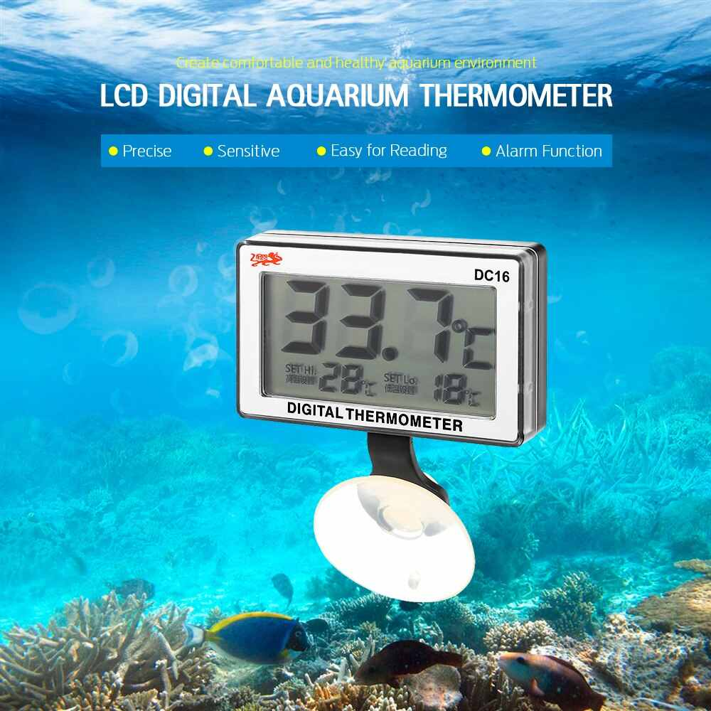 Mini Lcd Digital Fish Tank Aquarium Thermometer Digitale Dompelpompen Water Temperatuur Meter 0C ~ 50C Hoge/Lage Temperatuur Alarm