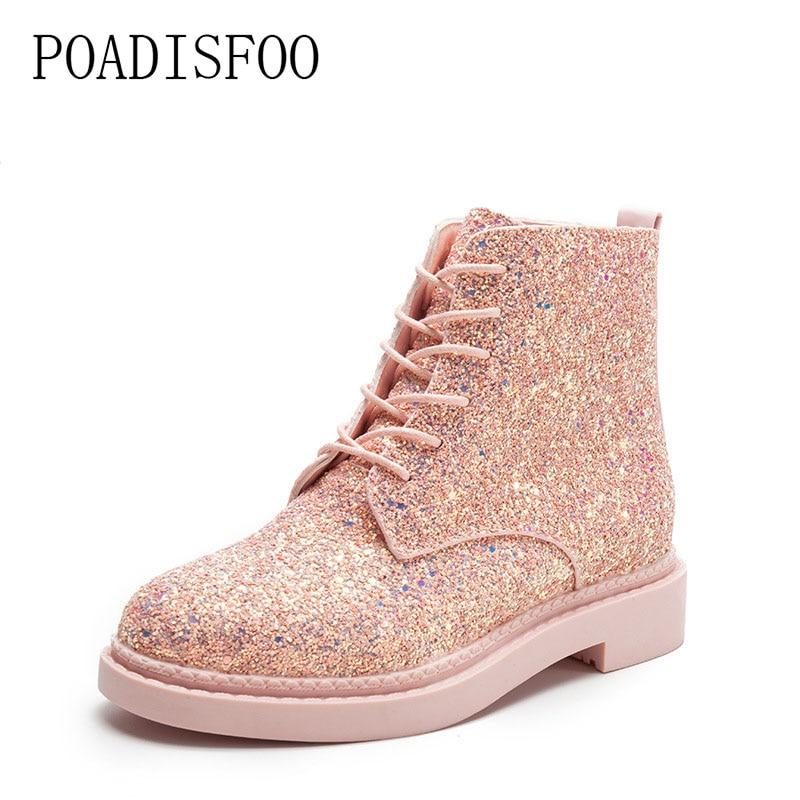 POADISFOO Martin boots 2017 new senior PU Round Toe Square heel Low heel Sweet Bling Lace-Up Ankle Boots.CBSL-FS707 цены онлайн