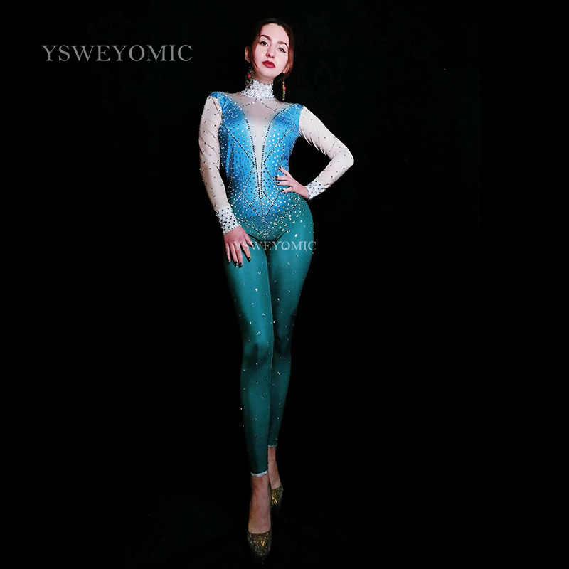С синими стразами пикантный комбинезон с открытой спинкой день рождения, празднование наряд телесного цвета синий комбинезон вечерние Для женщин для певиц, танцовщиц, сценическая одежда