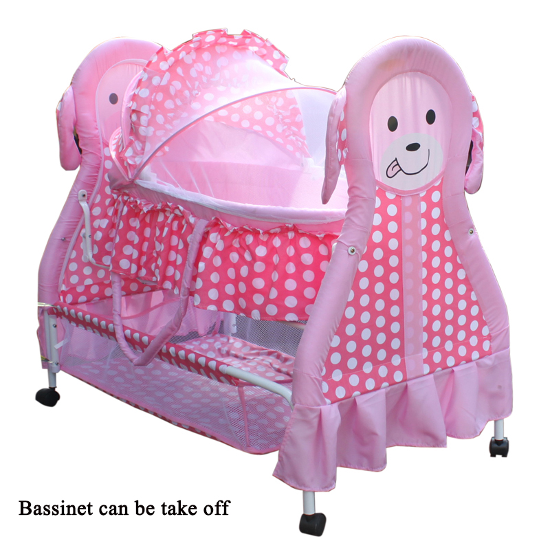 Baby cradle baby bed cradle bed baby bed newborn sleeping basket concentretor cartoon iron cabarets cloth bb crib