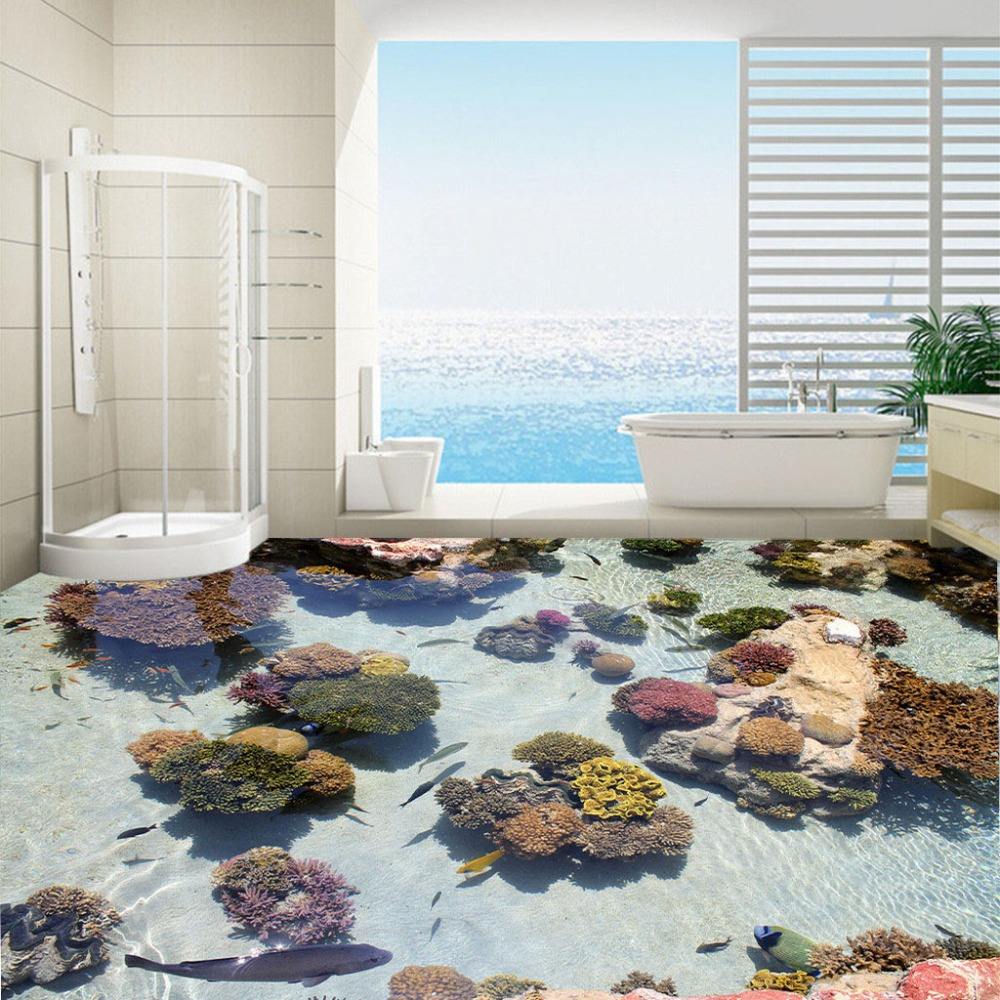 Custom Flooring Photo Wallpaper Coral Tropical Fish Ocean Bathroom Floor Sticker Painting Wear Non-slip Waterproof PVC Wallpaper