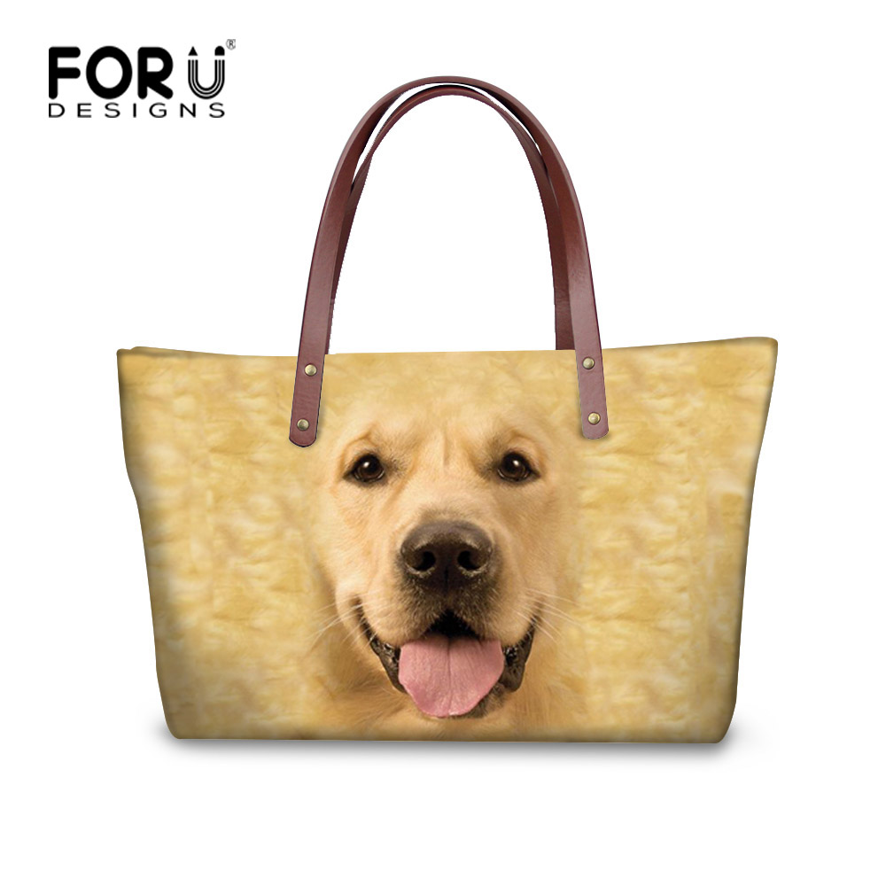 FORUDESIGNS 3D Custom Dog Printed Women Tote Handbag Female Shopping Bags High-capacity Daily Casual Beach Bags With Zipper forudesigns floral printed shoulder bags women large capacity female shopping bag summer ladies beach handbag blosas feminina