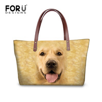 FORUDESIGNS 3D Custom Dog Printed Women Tote Handbag Female Shopping Bags High capacity Daily Casual Beach Bags With Zipper
