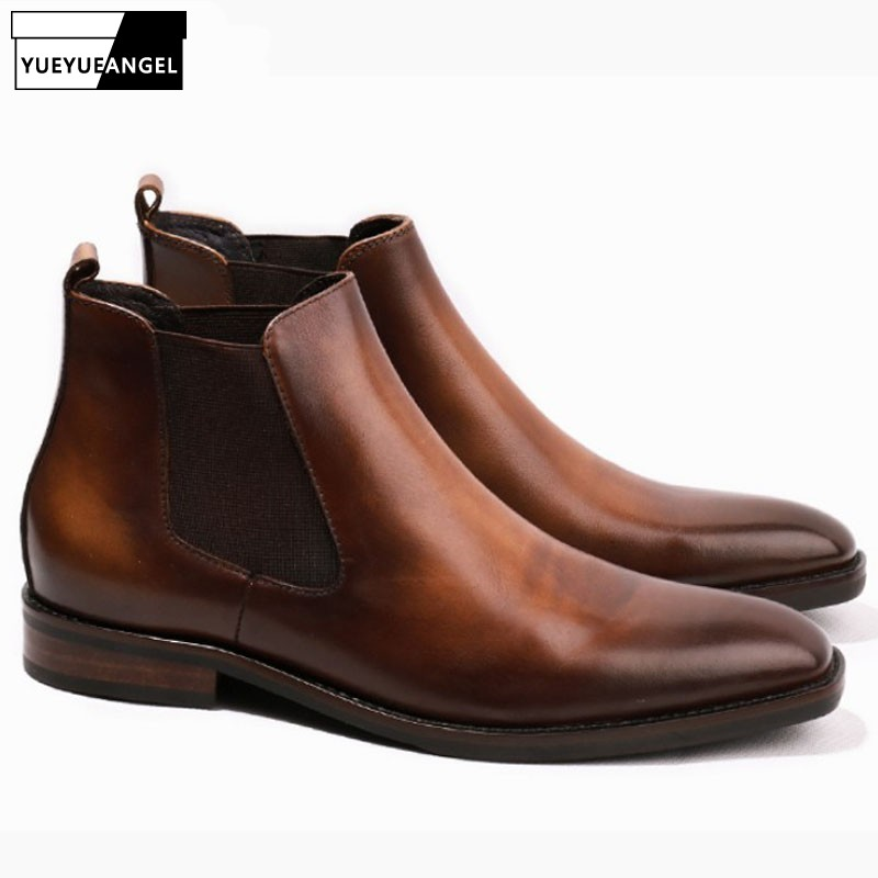 Italian Vintage Office Men Work High Top Chelsea Boots Square Toe Luxury Real Leather Dress Shoes Slip On Loafers Safety ShoesItalian Vintage Office Men Work High Top Chelsea Boots Square Toe Luxury Real Leather Dress Shoes Slip On Loafers Safety Shoes