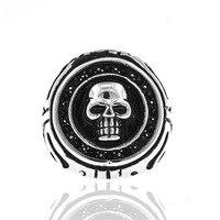 DL Skeleton Skull Rings 316L Stainless Steel Black Male Bague Homme Anillo Hombre Biker Ring Men