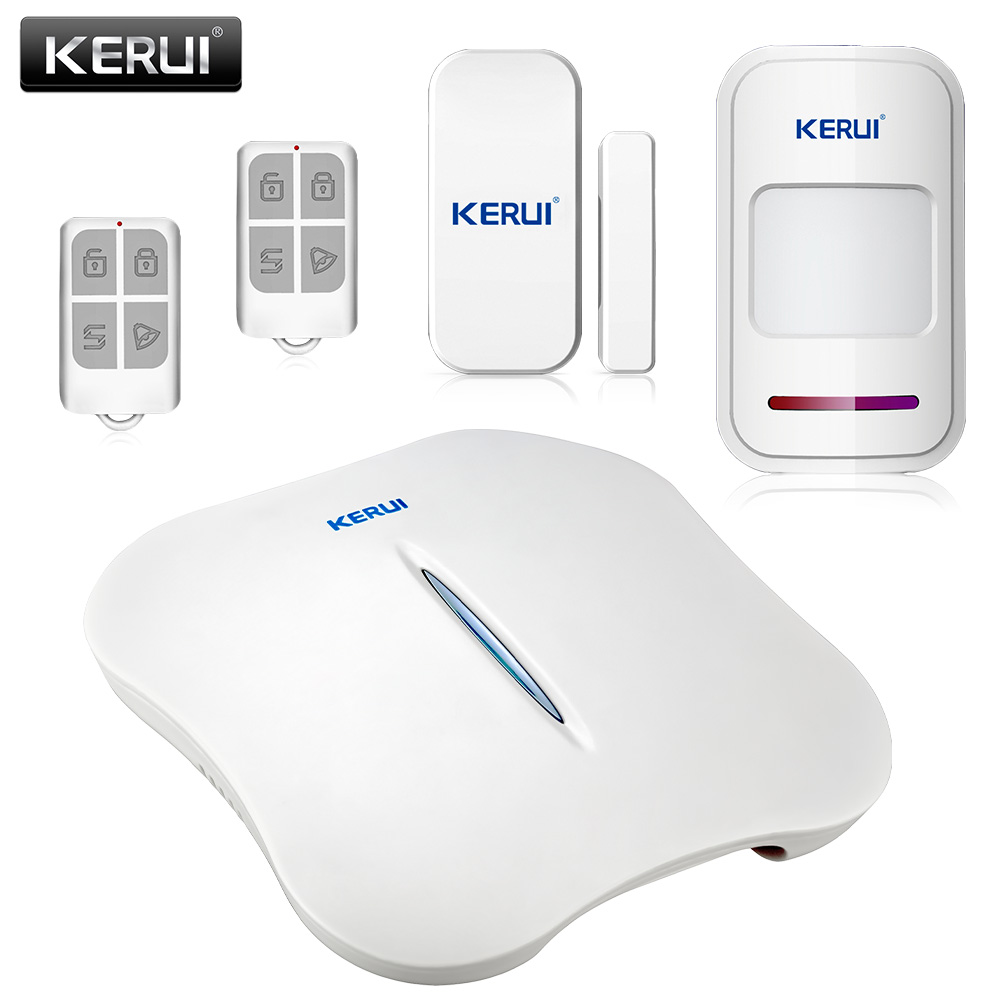 KERUI W1 WIFI Home Burglar Alarm Systems Security Home PSTN WIFI Home Alarm PIR Sensor Smoke Detector Phone APP Remote Alarm Kit alarm systems security home wireless ip camera wifi hd 720p intruder alarm house burglar kit door sensor pir detector cctv siren