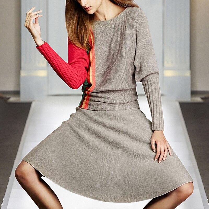 Milan Piste Designer Nouvelle Mode Haute Qualité 2019 Printemps Partie À Manches Longues Chandail Demi-Jupe Élégante Chic Femmes Ensembles de