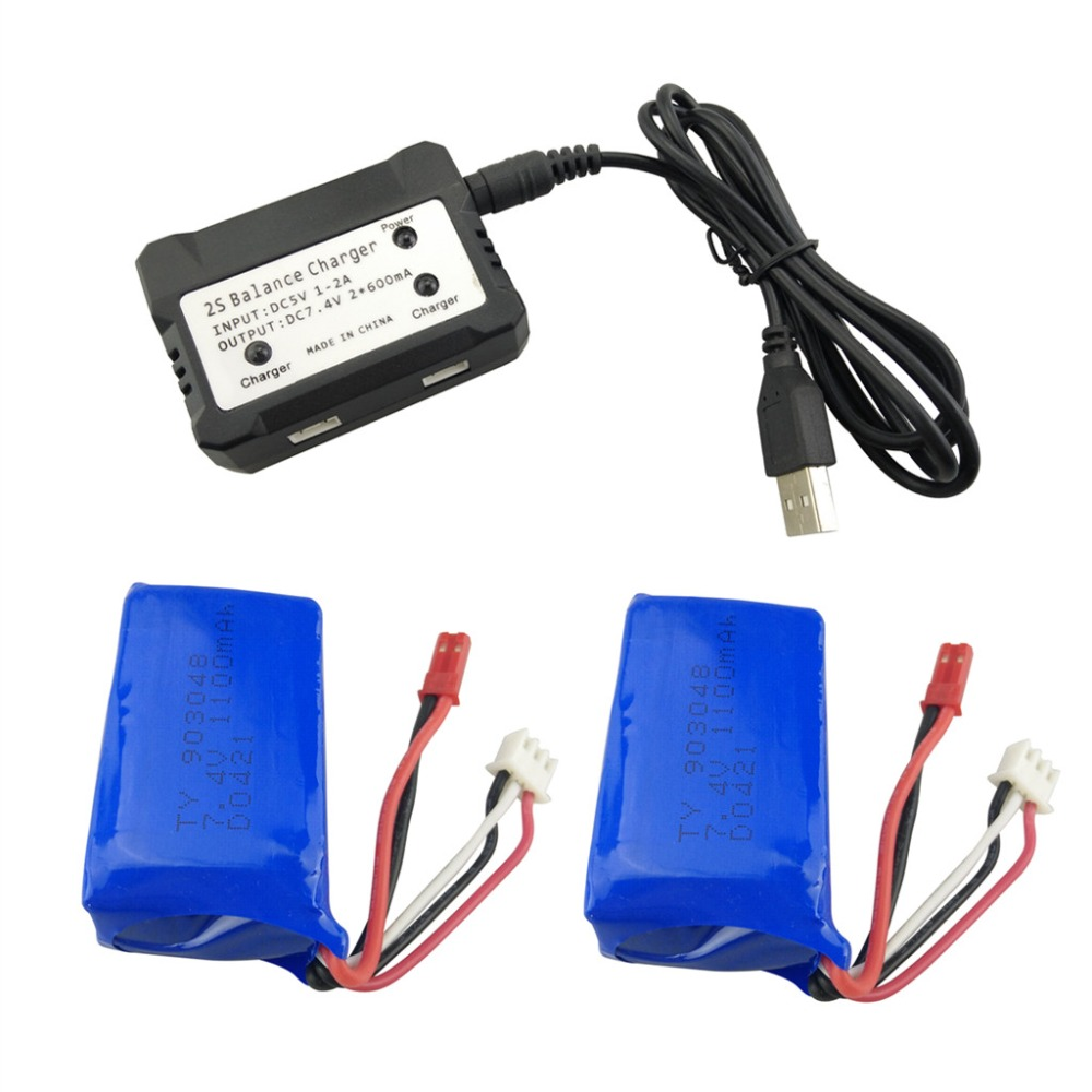 2PCS 7.4V 1100mah Lithium Battery with 2 in 1 Charger for WLtoys A949 A959 A969 A979 S989 V912 T23 T55 F45