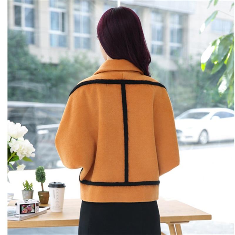 Spring Elegant Women Slim Coat Fur Color Short Sleeve High Quality Streetwear Red Yellow Coat 2018 2