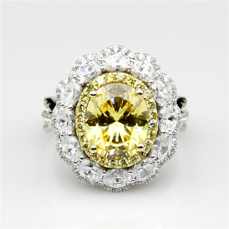 Luxury Halo 3 Carat Yellow Diamond Engagement Ring ASCD Simulated Diamond Solid 9K White Gold Wedding Ring and Pendant Necklack