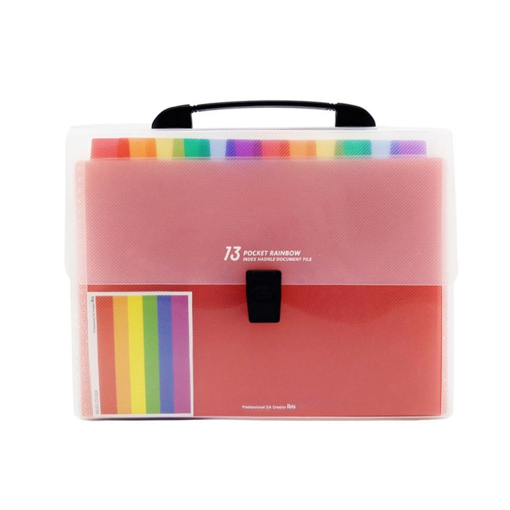 13 Pockets Plastic Expanding Accordion Folders, Letter Size Portable Document Holder, A4 File Organizer