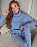 Winter Woolen And Cashmere Pattern Knitted Warm Suit High Collar Sweater Mink Cashmere Trousers Leisure Two