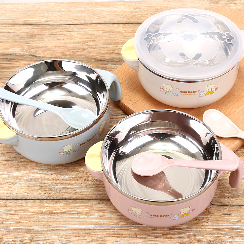 Baby Stainless Steel Thermal Bowl Toddler Tableware Dinnerware Suction Bowl With Spoon Kids Safety Dinner Feeding Bowls Dishes