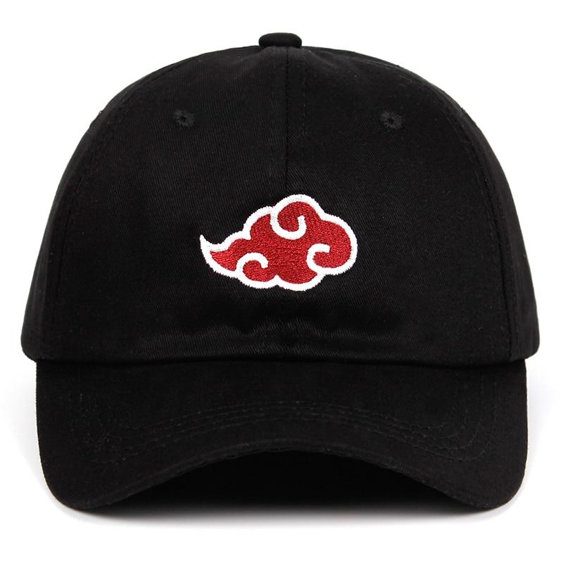 100% хлопок Японский логотип Akatsuki Аниме Наруто папа шляпа семья Uchiha вышивка логотипа Бейсбол шапки черные шляпы челнока