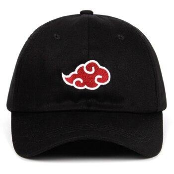 100% Cotton Japanese Akatsuki Logo Anime Naruto Dad Hat Uchiha Family Logo Embroidery Baseball Caps Black Snapback Hats dropship