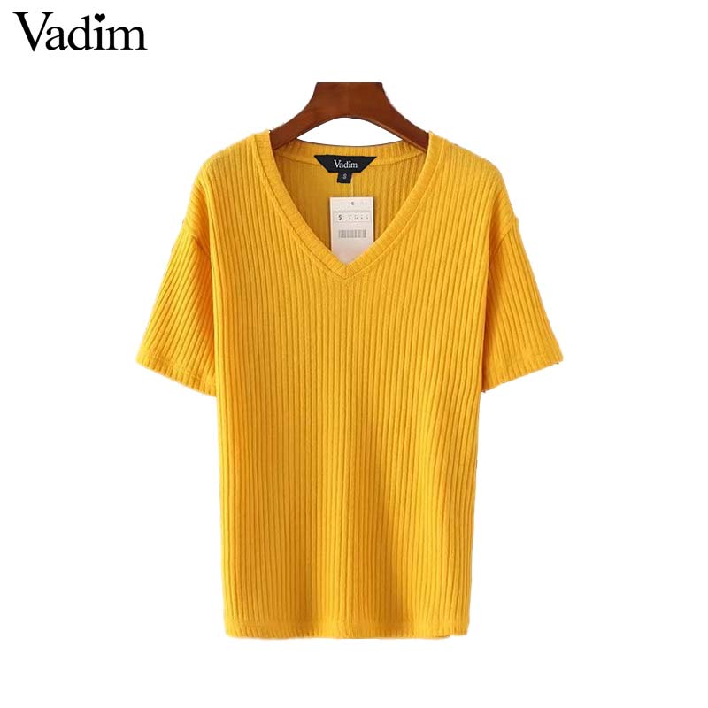 Vadim Women Elastic Knitted V Neck Shirts Short Sleeve Black White