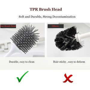 Image 3 - Silicone Toilet Brush With Holder Set Plastic Toilet Bowl Brush Wall mounted or Floor Standing Bathroom Toilet Cleaning Brush