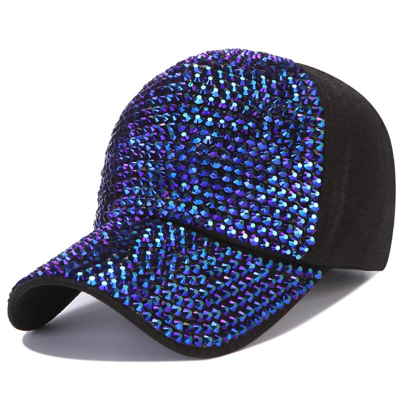 Women   Baseball     Cap   Brand Bling Crown Pearl Sequins Hip Hop   Cap   Vintage Denim Snap Back Design   Cap   Casual Snapback Hat New