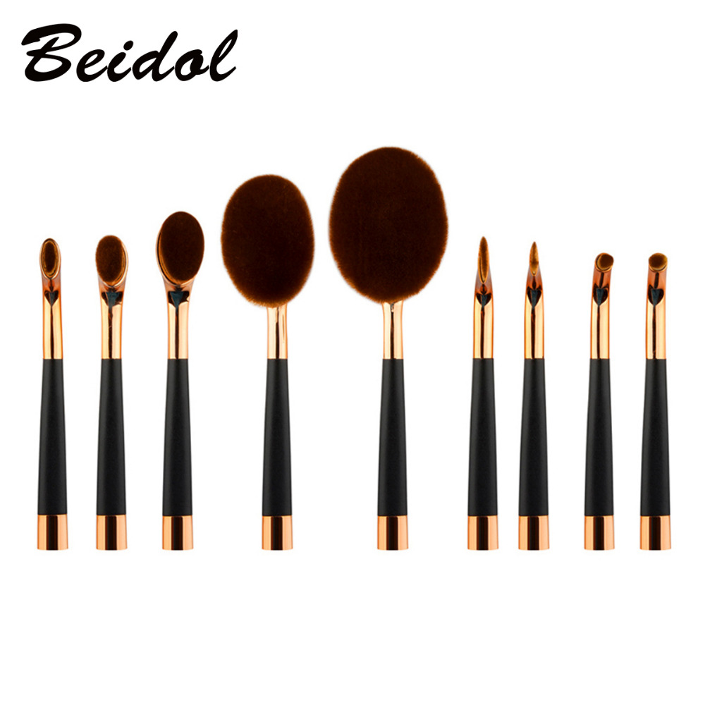 9pcs Set Golf Brushes Oval Toothbrush Powder Foundation Concealer Blusher Lip Eye Shadow Blending Face Cream Makeup Brush Tool new arrive makeup brush face powder blusher toothbrush foundation oval brushes cosmetic tool
