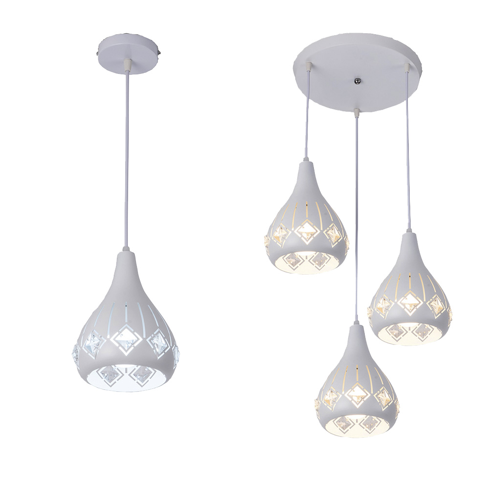 Nordic loft hanging crystal Pendant Lamp Fixtures E27 E26 LED cord Pendant lights for Kitchen Restaurant Bar living dining roomNordic loft hanging crystal Pendant Lamp Fixtures E27 E26 LED cord Pendant lights for Kitchen Restaurant Bar living dining room
