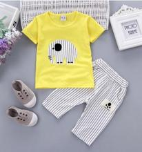 hot deal buy children's clothing 2017 summer new stylish kids clothes set casual short-sleeved t-shirt+ striped pant for boys girls qhx020