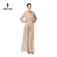 Free Shipping 2016 Sexy Long Sleeve Deep V Two Split Sequin Maxi No Lining Dress FT2901