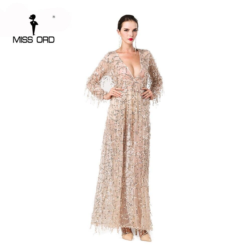 Missord 2020 Sexy  Long Sleeve Deep V  Two Split Sequin Maxi Dress FT2901-1