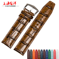 2016 new arrived high quality genuine leather watch straps 22mm crocodile grain with buckle free shipping
