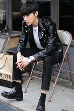 Male leather jacket outerwear male leather clothing slim short design motorcycle leather jacket men's clothing