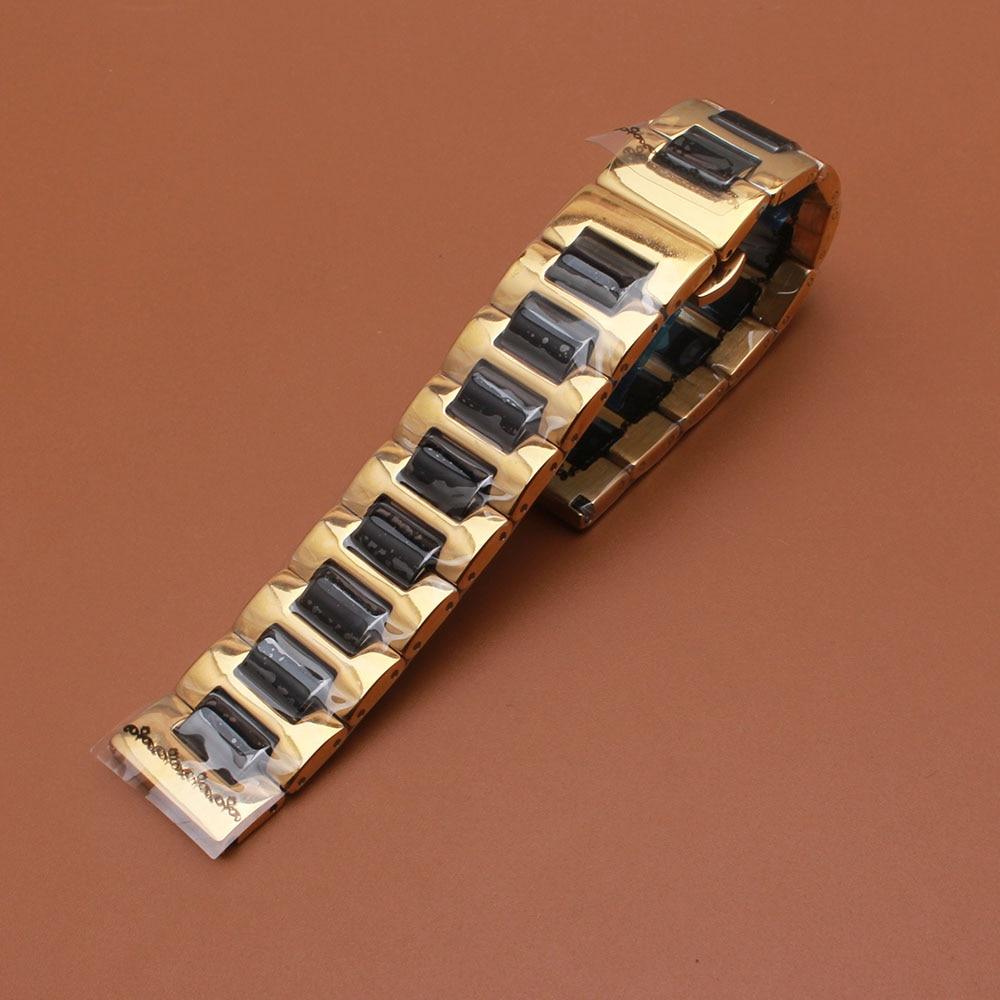 Saat kayışı Gül altın Paslanmaz Çelik Wrap Siyah Seramik - Saat Aksesuarları - Fotoğraf 4